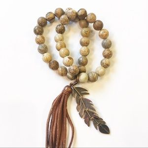 Double Strand Bead Bracelet w/Tassel and Feather